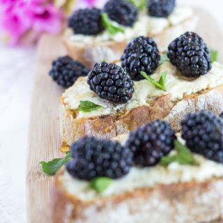 Honey Goat Cheese Toasts with Blackberries & Mint