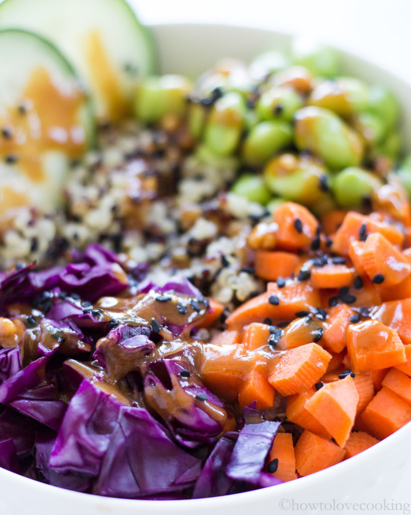 Crunchy Veggie Quinoa Bowls with Spicy Peanut Dressing - How to Love Cooking