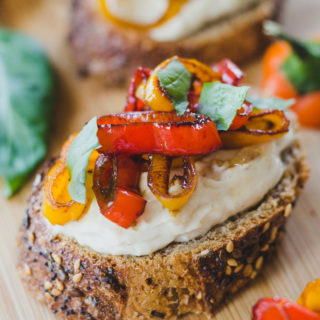 Sweet Pepper Toasts with Roasted Garlic Cream Cheese