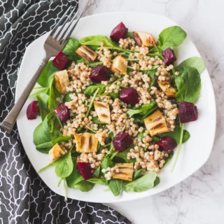 Arugula and Toasted Couscous Salad with Roasted Root Veggies and Maple-Mustard Vinaigrette