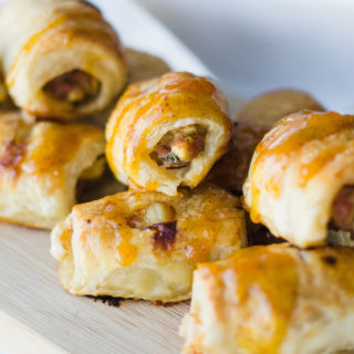 Apple-Shallot Sausage Rolls with Apricot Mustard
