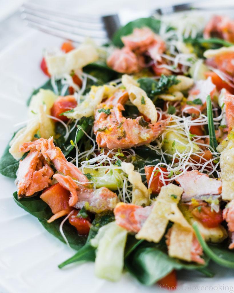 Baked Salmon Salad with Citrus Mint Vinaigrette
