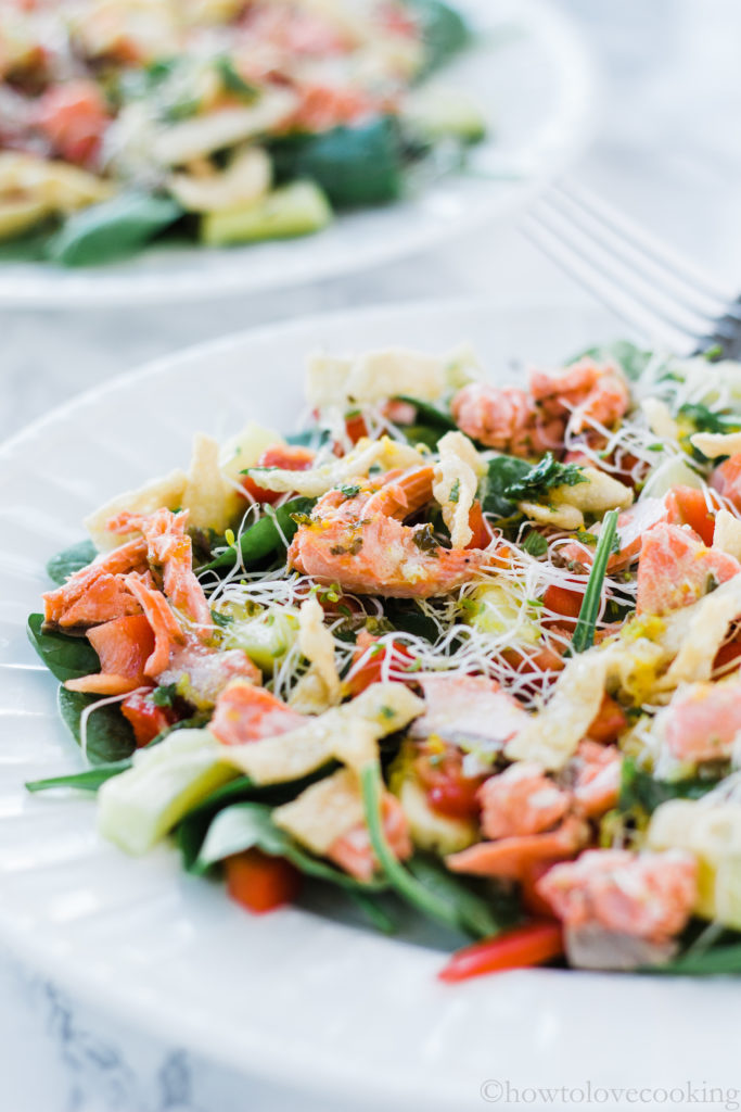 Baked Salmon Salad with Citrus Mint Vinaigrette - How to Love Cooking